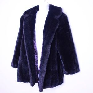 Vintage Jackets & Coats - Luscious Vintage Faux Fur Wide Lapel Coat